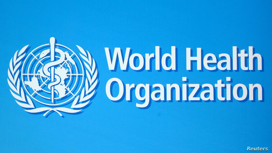 FILE PHOTO: The logo of the World Health Organization (WHO), is seen before a news conference in Geneva