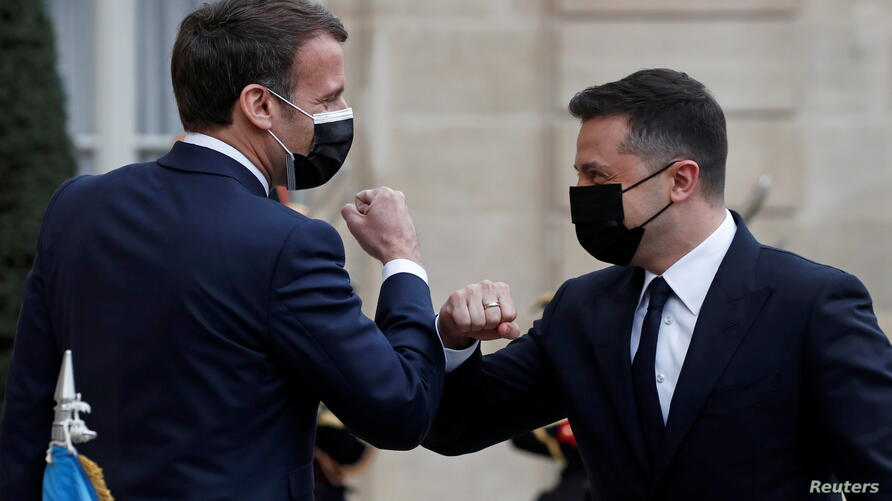 French President Macron hosts Ukrainian President Zelenskiy at the Elysee Palace in Paris