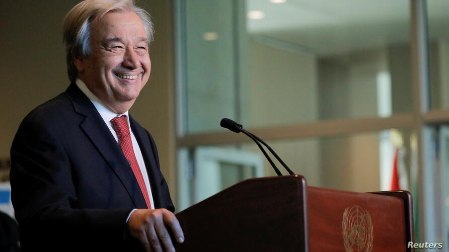 U.N. Secretary-General Antonio Guterres speaks as U.N. General Assembly appointed him for a second five-year term from January 1, 2022, in New York City