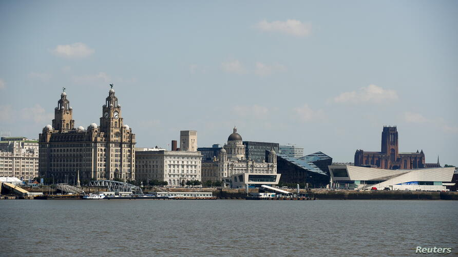 A view of Liverpool from across the River Mersey, in Birkenhead