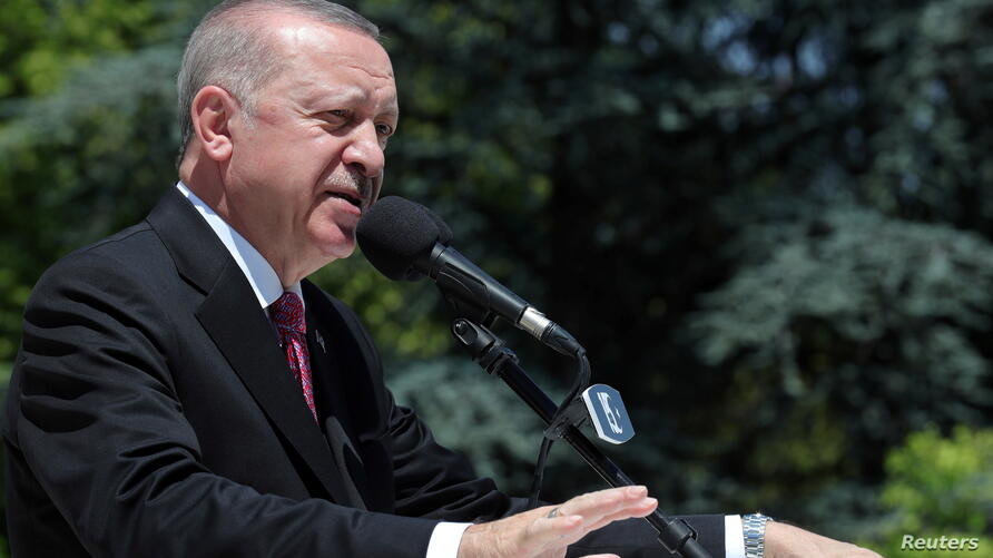 Turkish President Erdogan speaks during a ceremony to mark the fifth anniversary of failed coup attempt, in Ankara