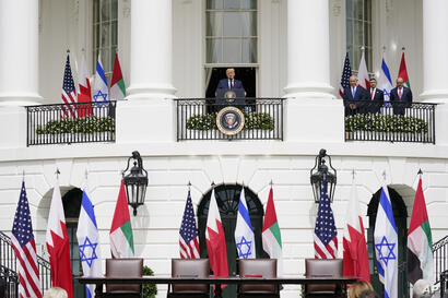 President Donald Trump speaks during the Abraham Accords signing ceremony on the South Lawn of the White House, Tuesday, Sept…