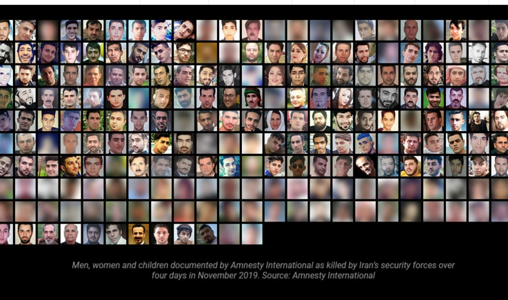 A picture of all protesters killed by Iran security forces on November 2019