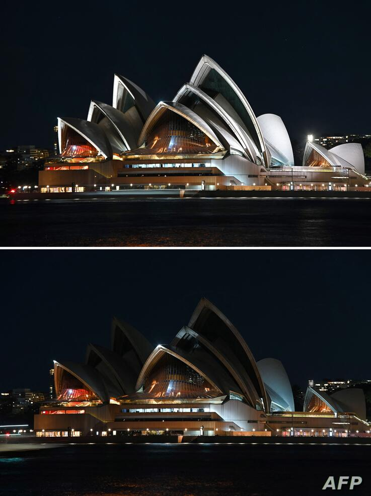 This combination of pictures created on March 27, 2021 shows the Sydney Opera House is seen before (above) and during Earth…