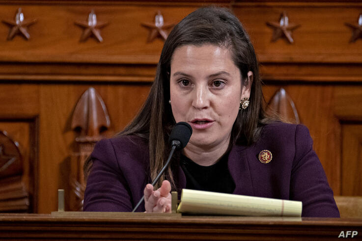 (FILES) In this file photo Representative Elise Stefanik, a Republican from New York, questions witnesses during a House…