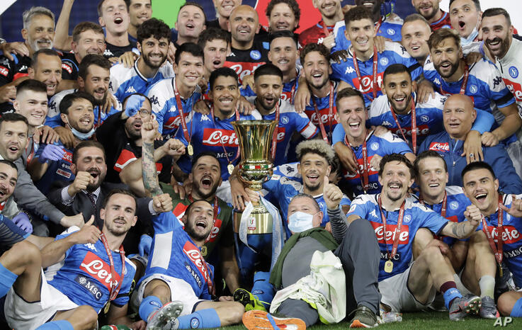 Napoli players celebrate after winning the final match between Napoli and Juventus, at Rome's Olympic Stadium, Wednesday, June…