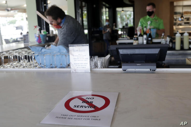 A sign indicates that there is no bar service available at the Riverside Hotel's Boathouse restaurant during the new…
