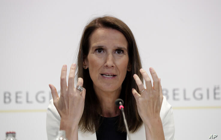 Belgian Prime Minister Sophie Wilmes speaks during a media conference following a National Security Council meeting on…