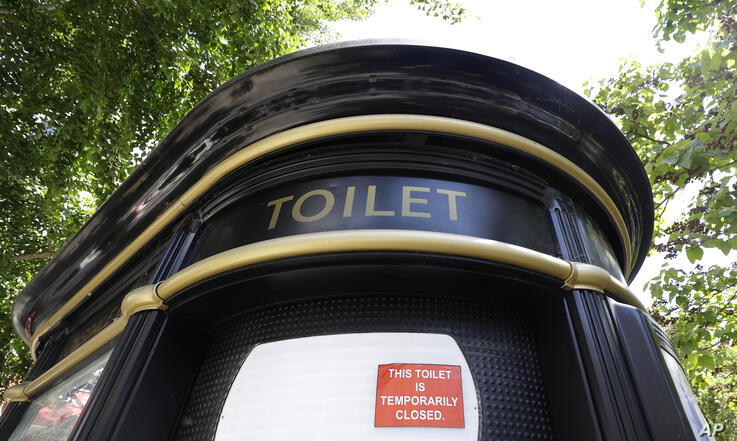 A public toilet remains closed along Portobello Road in London, Monday, June 1, 2020. Most public toilets remain closed, as the…