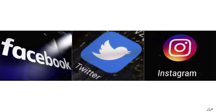 FILE - This combination of photos shows logos for social media platforms, from left, Facebook, Twitter and Instagram.  The…