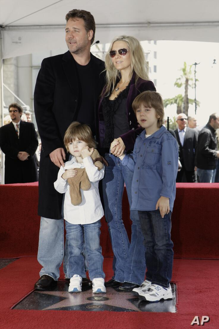 Academy Award winning actor Russell Crowe is joined by his son Tennyson Spencer Crowe, left, his wife Danielle Spencer, and…