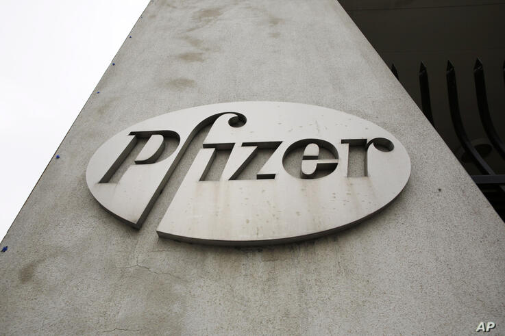 FILE - This May 4, 2014 file photo shows the logo on the exterior of a former Pfizer factory in the Brooklyn borough of New…