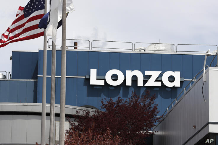 The Lonza Biologics pharmaceutical manufacturing plant in Portsmouth, N.H., Friday, May 8, 2020. (AP Photo/Charles Krupa)