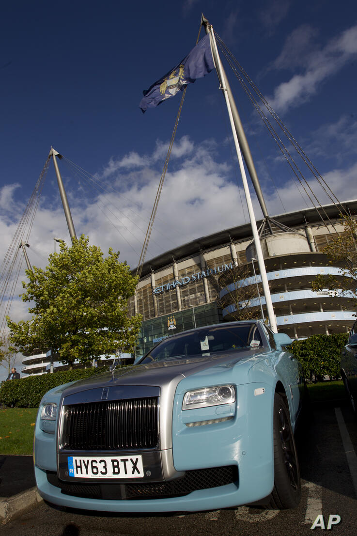 A Rolls Royce outside Manchester City's Etihad Stadium before the team's English Premier League soccer match against Norwich,…
