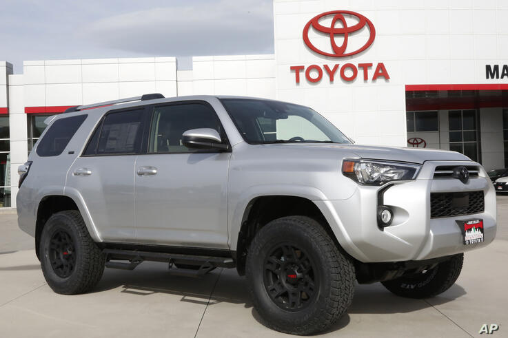 A Toyota 4Runner shown on the lot of Mark Miller Toyota Dealership Tuesday, May 12, 2020, in Salt Lake City. Toyota Motor Corp…