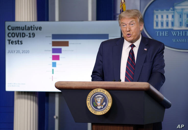 President Donald Trump speaks during a news conference at the White House, Tuesday, July 21, 2020, in Washington. (AP Photo…