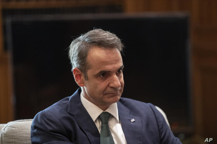 Greek Prime Minister Kyriakos Mitsotakis, during a meeting with the German Foreign Minister Heiko Maas, in Athens, on Tuesday,…