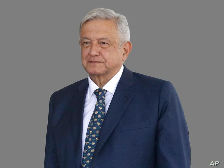 Andres Manuel Lopez Obrador headshot, as Mexico president, during meeting at the White House, Washington, DC, graphic element…