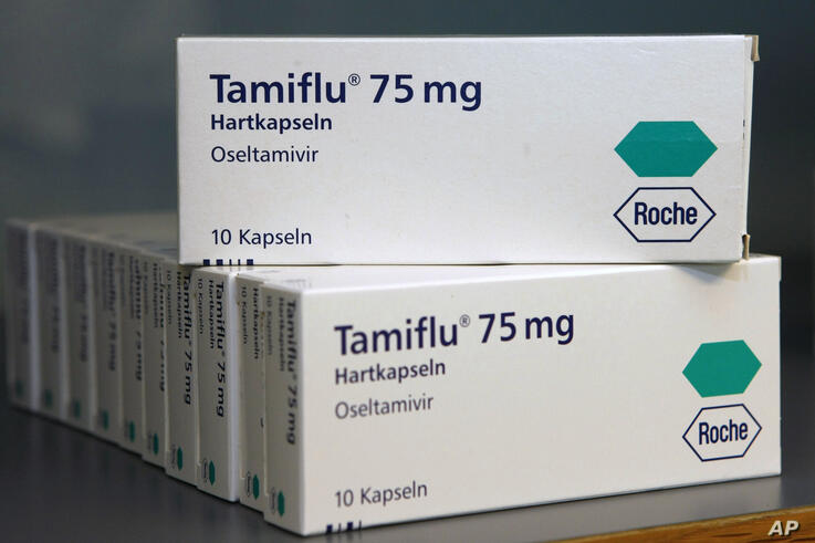 FILE - In this April 28, 2009 file photo packages of the medicine Tamiflu by Swiss pharmaceutical company Roche are seen  in…