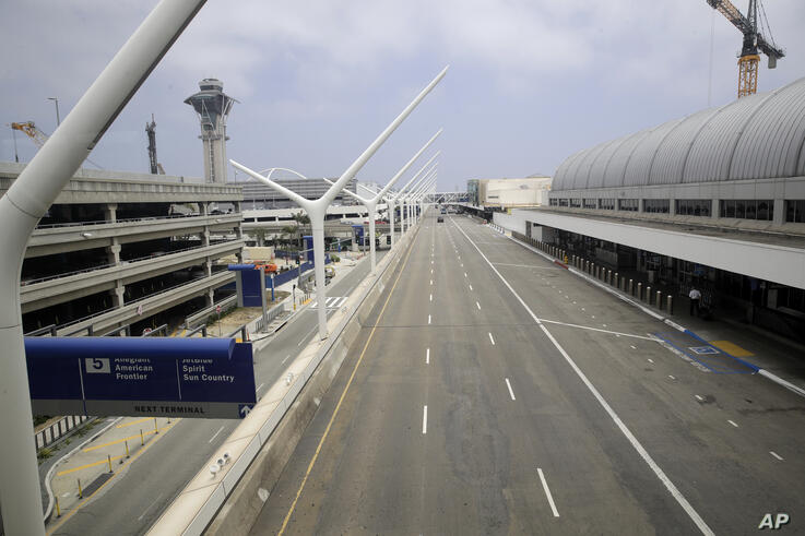 A empty street is seen at the Los Angeles International Airport Thursday, May 28, 2020, in Los Angeles. From Britain's EasyJet…