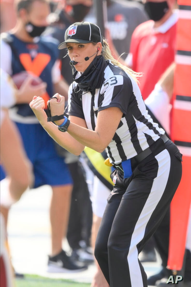 NFL down judge Sarah Thomas works during an NFL football game between the Cleveland Browns and the Washington Football Team,…