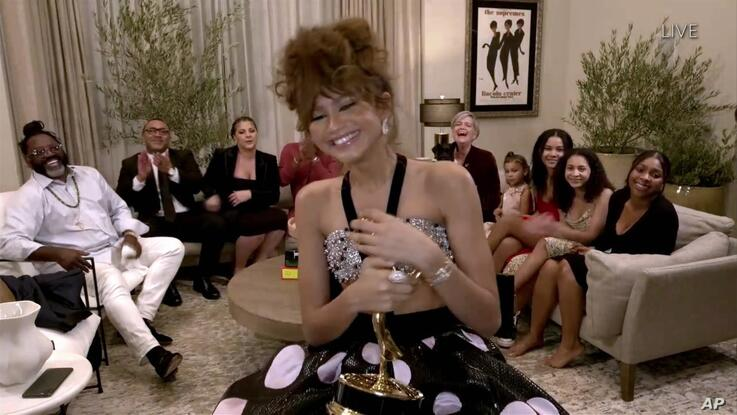 IMAGE DISTRIBUTED FOR THE TELEVISION ACADEMY - Zendaya accepts the Emmy for Outstanding Lead Actress in a Drama Series for …