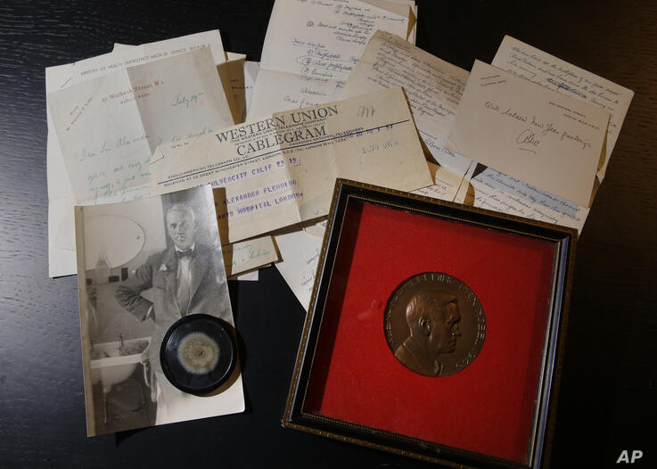 In this photo taken on Thursday, Feb. 16, 2017, a capsule of original penicillin mold, seen bottom left among other letter and…