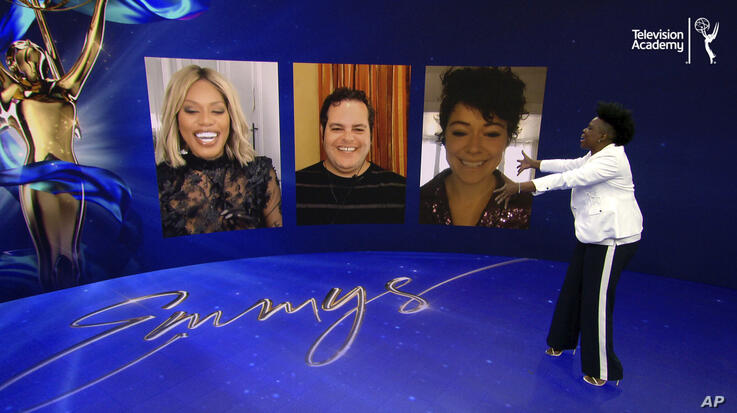 IMAGE DISTRIBUTED FOR THE TELEVISION ACADEMY - Leslie Jones welcomes her three co-presenters to help announce the 72 Emmy…