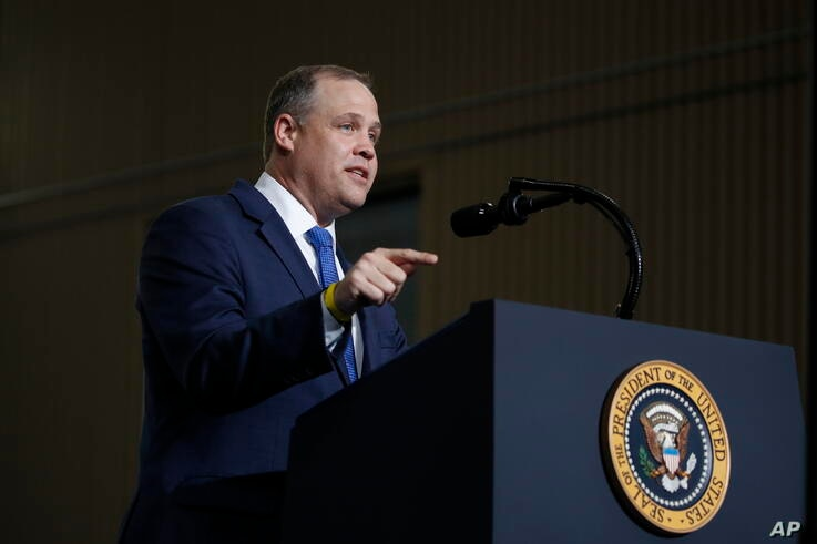 NASA Administrator Jim Bridenstine speaks at the Vehicle Assembly Building on Saturday, May 23, 2020, at NASA's Kennedy Space…