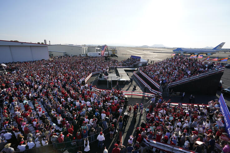 President Donald Trump speaks at a campaign rally at Tucson International Airport, Monday, Oct. 19, 2020, in Tucson, Ariz. (AP…