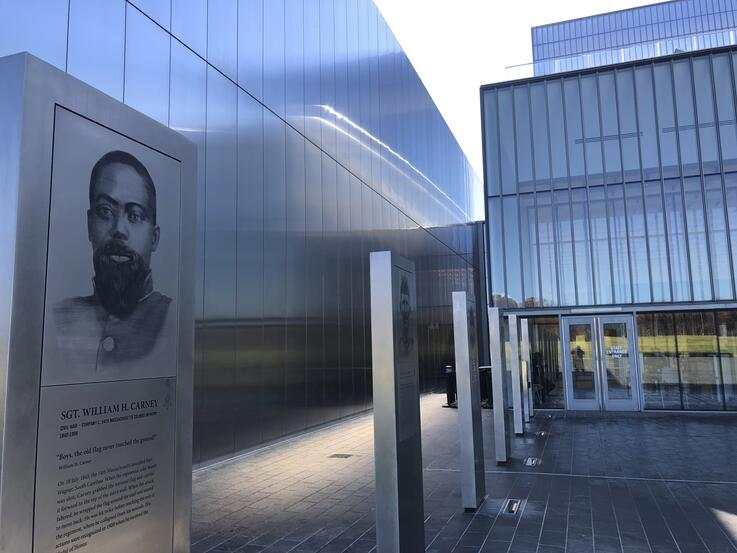 A marker commemorating the service of Sgt. William Carney, a former slave who served in the 54th Massachusetts Colored Infantry…