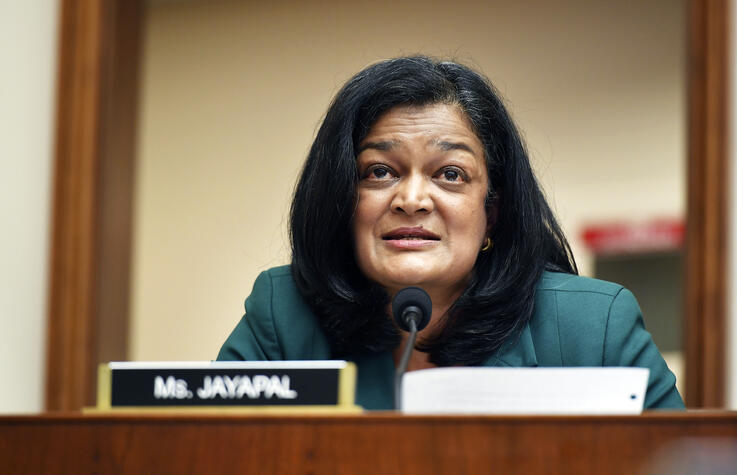Rep. Pramila Jayapal, D-Wash., speaks during a House Judiciary subcommittee on antitrust on Capitol Hill on Wednesday, July 29,…