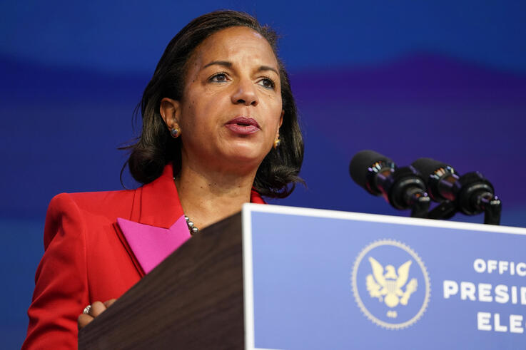Susan Rice, the Biden administration's choice to lead the White House Domestic Policy Council, speaks during an event at The…