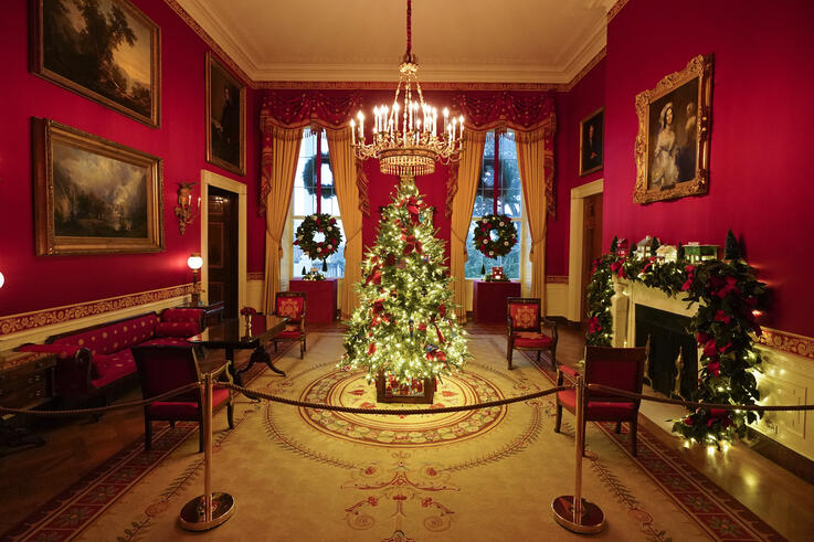 The Red Room of the White House is decorated during the 2020 Christmas preview, Monday, Nov. 30, 2020, in Washington. (AP Photo…