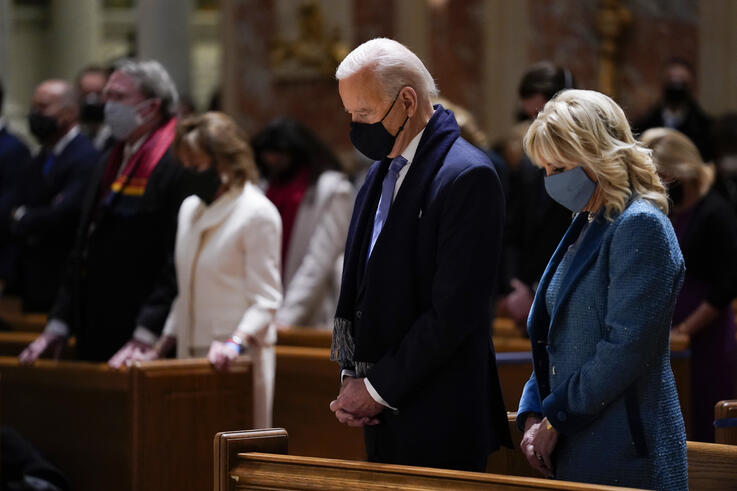 President-elect Joe Biden and his wife Jill Biden as they attend Mass at the Cathedral of St. Matthew the Apostle during…