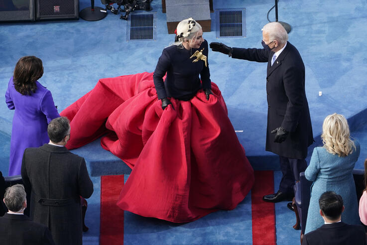 President-elect Joe Biden greets Lady Gaga during the 59th Presidential Inauguration at the U.S. Capitol in Washington,…