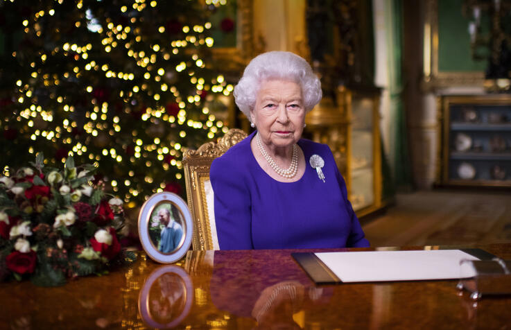 In this undated photo issued on Friday Dec. 25, 2020, Britain's Queen Elizabeth II records her annual Christmas broadcast in…