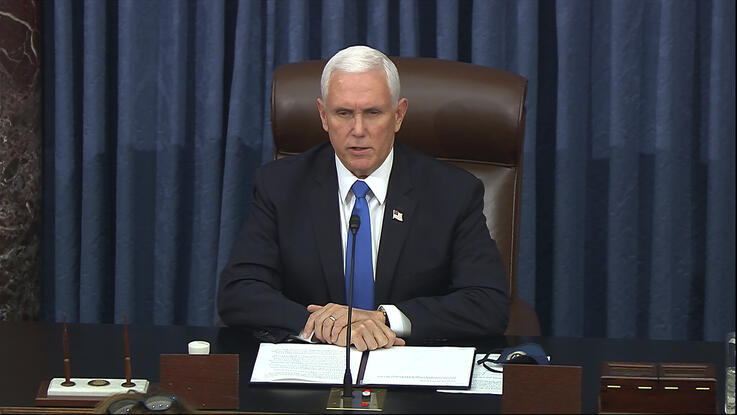 In this image from video, Vice President Mike Pence speaks as the Senate reconvenes after protesters stormed into the U.S…