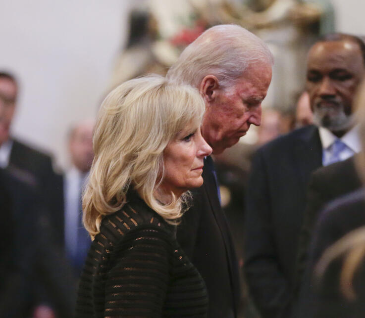 Vice President Joe Biden and his wife Jill Biden leave funeral services for former Delaware Attorney General Beau Biden,…