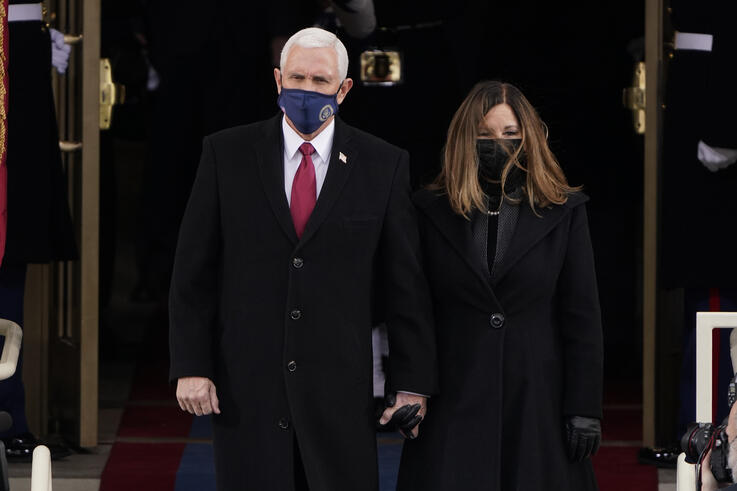 Vice President Mike Pence and his wife Karen, arrive for the 59th Presidential Inauguration at the U.S. Capitol for President…