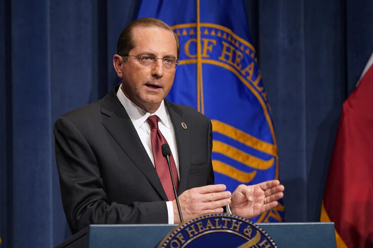 Health and Human Services Secretary Alex Azar speaks during a news conference on Operation Warp Speed and COVID-19 vaccine…
