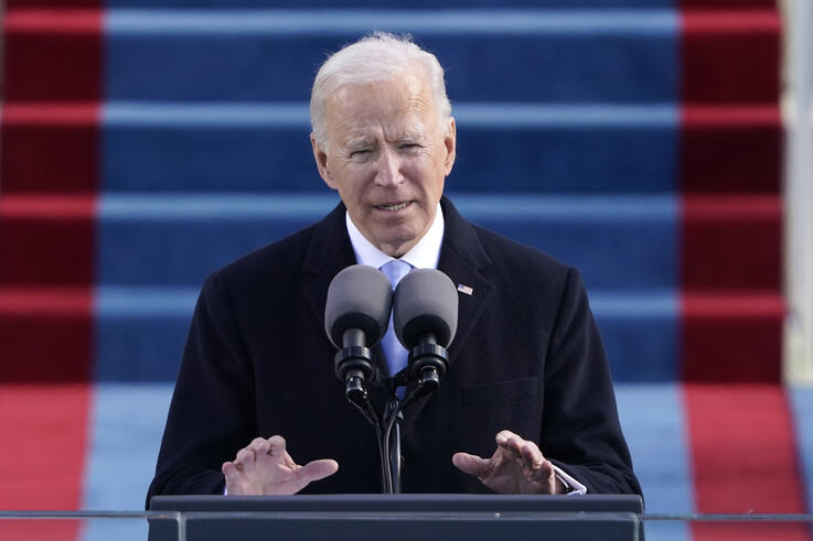 President Joe Biden speaks during the 59th Presidential Inauguration at the U.S. Capitol in Washington, Wednesday, Jan. 20,…