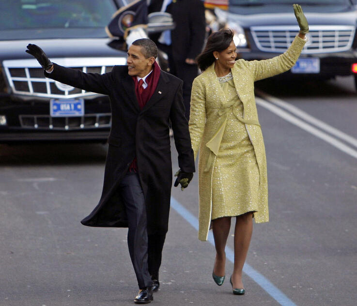 FILE - This Jan. 20, 2009, file photo shows President Barack Obama with first lady Michelle Obama on their way to the White…