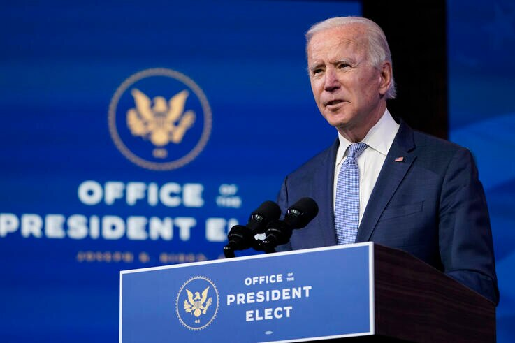 President-elect Joe Biden speaks at The Queen theater in Wilmington, Del., Wednesday, Jan. 6, 2021. Biden has called the…
