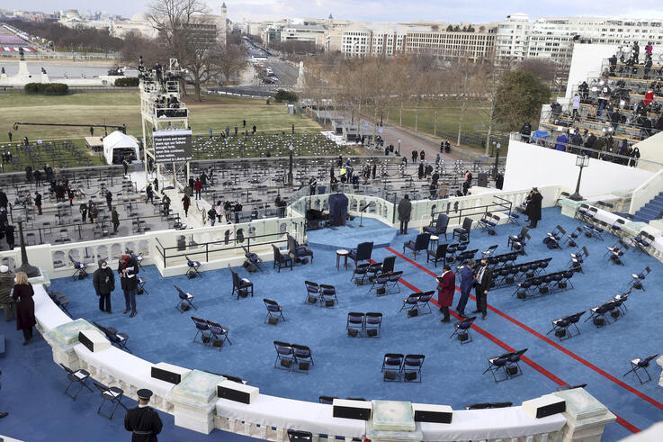 Final preparations are made ahead of President-elect Joe Biden's inauguration ceremony, Wednesday, Jan. 20, 2021, in Washington…