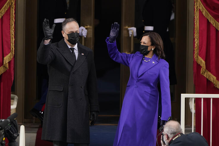 President-elect Kamala Harris and her husband Doug Emhoff, arrive for the 59th Presidential Inauguration at the U.S. Capitol in…