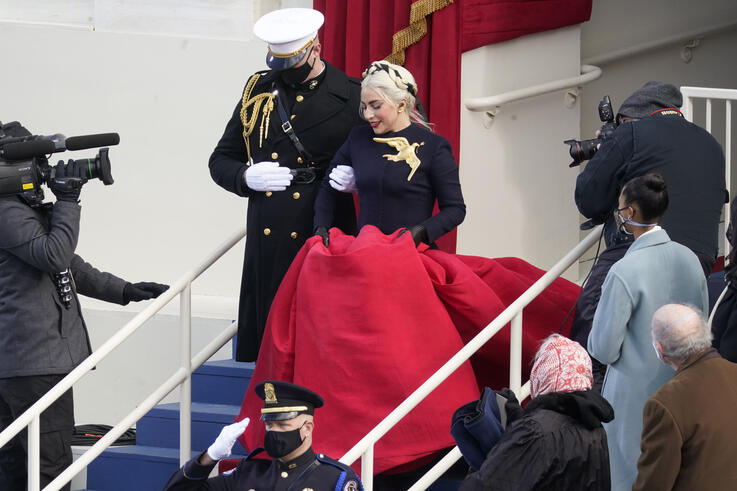 Lady Gaga arrives to perform the National Anthem during the 59th Presidential Inauguration at the U.S. Capitol in Washington,…