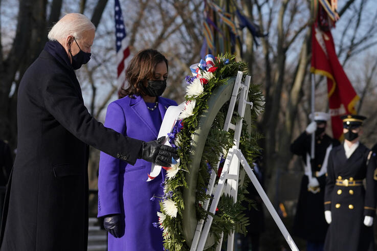 President Joe Biden and Vice President Kamala Harris participate in a wreath laying ceremony at the Tomb of the Unknown Soldier…