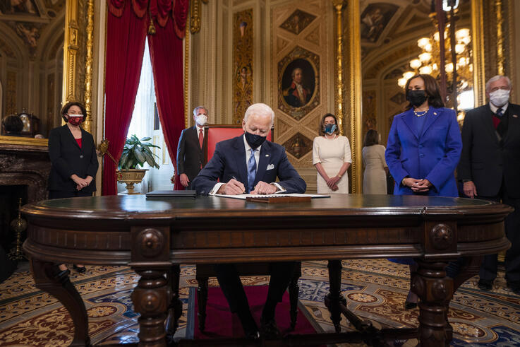 President Joe Biden signs three documents including an inauguration declaration, cabinet nominations and sub-cabinet…
