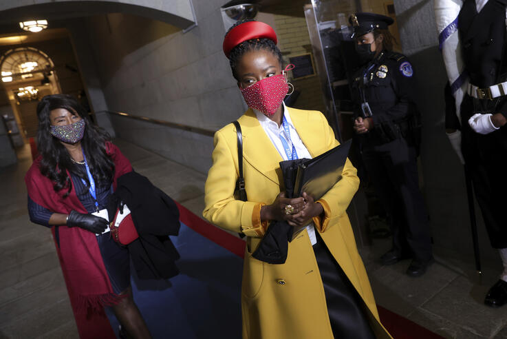 National youth poet laureate Amanda Gorman arrives at the inauguration of U.S. President-elect Joe Biden on the West Front of…